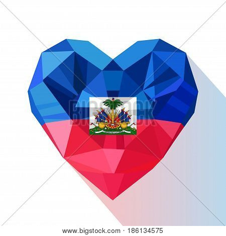 Vector crystal gem jewelry Haitian heart of the Republic of Haiti. Flat style logo symbol of love Haiti. Caribbean Sea.