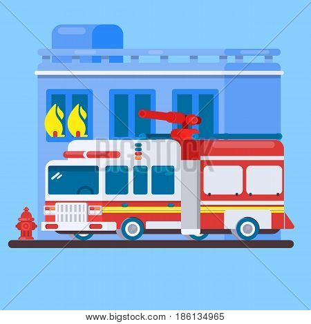 Red Fire Truck or Fire Engine Flat vector illustration