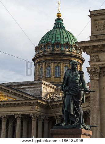 Sculpture of Barclay de Tolly against the background of the Kazan Cathedral in St. Petersburg.