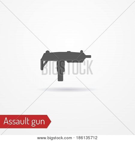 Abstract compact assault firearm. Submachine gun isolated icon in silhouette style with shadow. Typical gangster or criminal weapon. Military vector stock image.