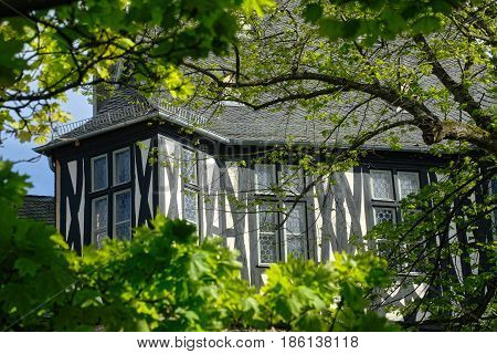 Low angle view of a timbered house