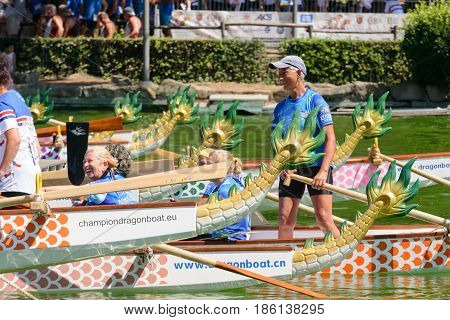 Rome Italy - July 30 2016: Dragon boat crews compete at the european championships held in Italy in 2016 summer