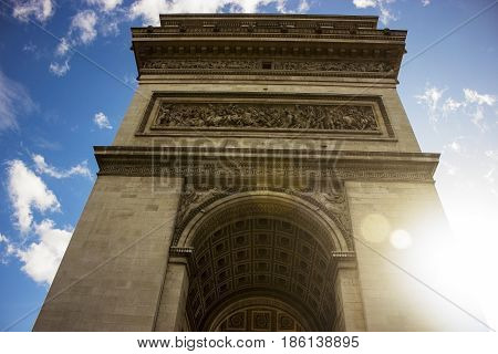 Arc De Triomphe against a blue sky