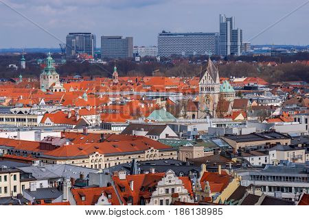 Aerial view of Munich from the observation deck of St. Peter's Cathedral. Germany. Bavaria.