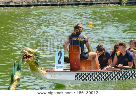 Rome Italy - July 30 2016: Dragon boat crews compete at the european championships held in Italy in 2016 summer in the photo the Spain crew