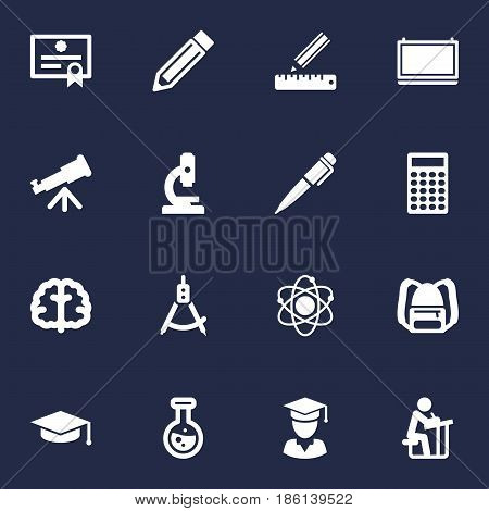 Set Of 16 Education Icons Set.Collection Of Ink, Student, Diplomaed Male And Other Elements.