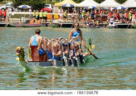 Rome Italy - July 30 2016: Dragon boat crews compete at the european championships held in Italy in 2016 summer the Sverige crew
