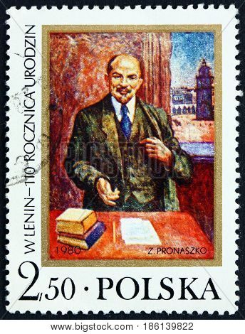 POLAND - CIRCA 1980: a stamp printed in Poland shows Vladimir Illyich Lenin Communist and Politician 110th Birth Anniversary circa 1980