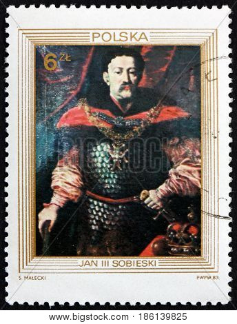 POLAND - CIRCA 1983: a stamp printed in Poland shows Portrait of King John III Sobieski Painting by Unknown Court Painter circa 1983