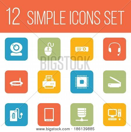 Set Of 12 Notebook Icons Set.Collection Of Show, Record, Peripheral And Other Elements.