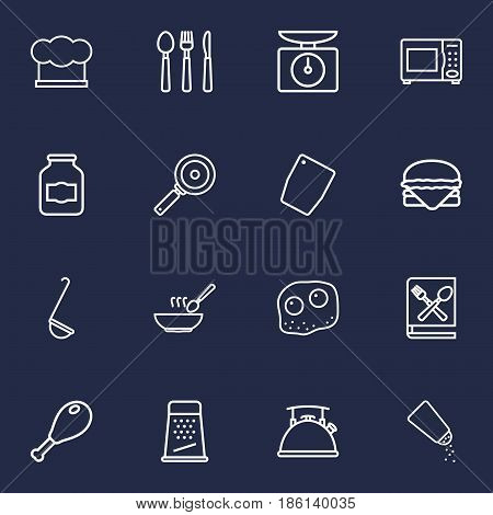 Set Of 16 Culinary Outline Icons Set.Collection Of Grater, Salt, Jug And Other Elements.