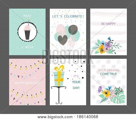 Happy Birthday cards set. Greeting congratulations postcards templates. Tender pastel colors. Vector hand drawn illustration