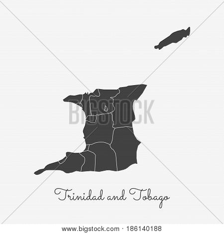 Trinidad And Tobago Region Map: Grey Outline On White Background. Detailed Map Of Trinidad And Tobag