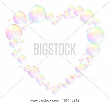 Bubbles forming a heart frame - isolated vector illustration on white background.