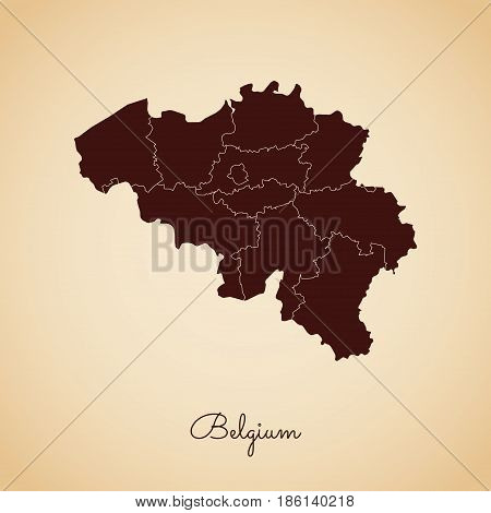 Belgium Region Map: Retro Style Brown Outline On Old Paper Background. Detailed Map Of Belgium Regio