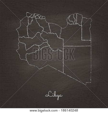 Libya Region Map: Hand Drawn With White Chalk On School Blackboard Texture. Detailed Map Of Libya Re
