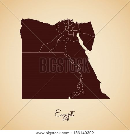 Egypt Region Map: Retro Style Brown Outline On Old Paper Background. Detailed Map Of Egypt Regions.