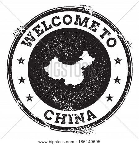 Vintage Passport Welcome Stamp With China Map. Grunge Rubber Stamp With Welcome To China Text, Vecto