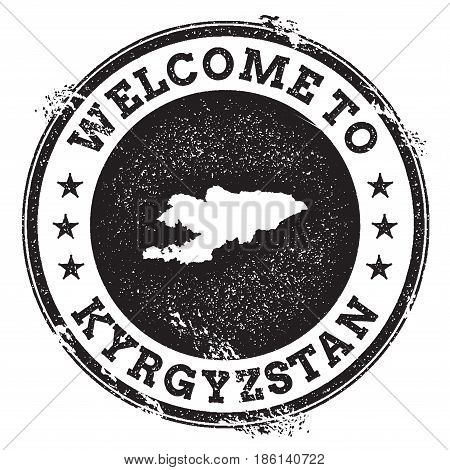 Vintage Passport Welcome Stamp With Kyrgyzstan Map. Grunge Rubber Stamp With Welcome To Kyrgyzstan T