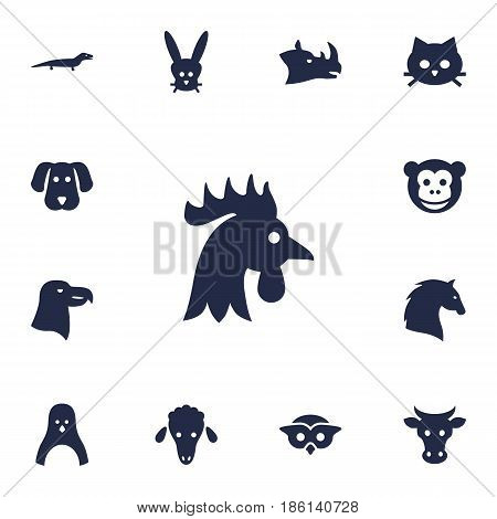 Set Of 13 Brute Icons Set.Collection Of Rooster, Hound, Night Fowl And Other Elements.