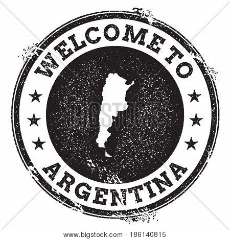 Vintage Passport Welcome Stamp With Argentina Map. Grunge Rubber Stamp With Welcome To Argentina Tex