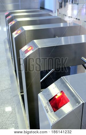 Electronic access control security system closeup view