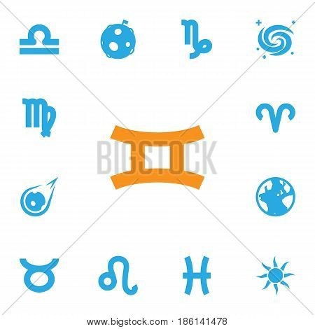Set Of 13 Astronomy Icons Set.Collection Of Space, Earth Planet, Twins And Other Elements.