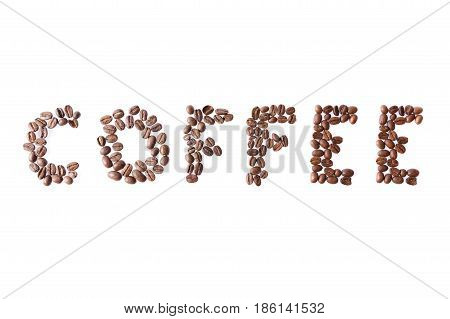 coffee word written by coffee beans isolated on white background