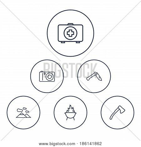 Set Of 6 Picnic Outline Icons Set.Collection Of Penknife, Medical Kit, Photographing And Other Elements.