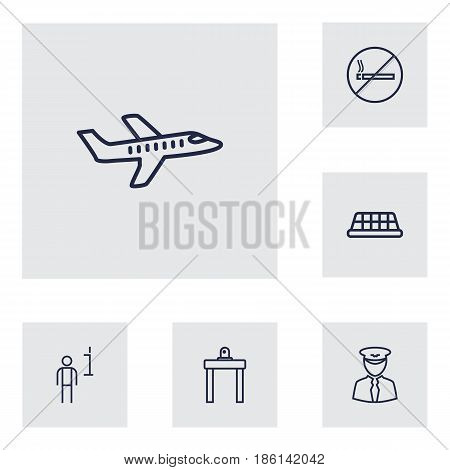 Set Of 6 Aircraft Outline Icons Set.Collection Of Airport Security, Data, Plane And Other Elements.