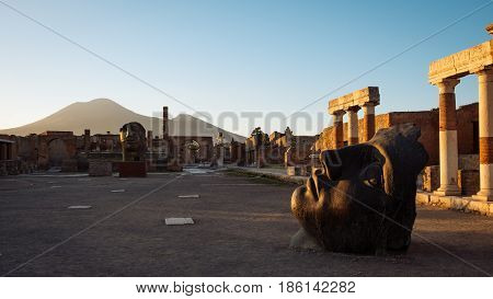 Scenic Sunset View Of Ruins At Ancient City Of Pompeii