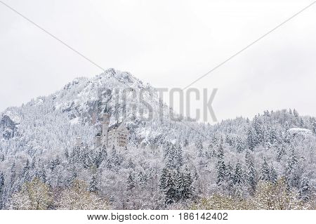 Neuschwanstein Castle In Winter Landscape. A Nineteenth-century Romanesque Revival Palace On A Rugge