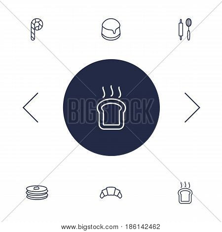 Set Of 6 Oven Outline Icons Set.Collection Of Pudding, Rolling Pin, Toast And Other Elements.