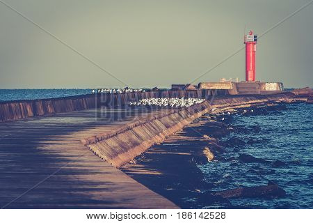 Breakwater Dam With Lighthouse