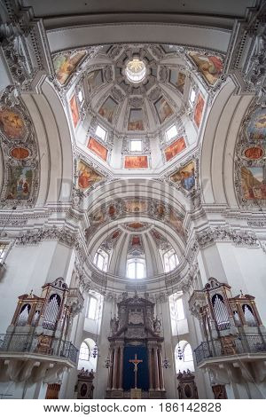 Salzburg, Austria - 14 April 2017 : Dome Of Salzburger Dom Or Salzburg Cathedral, The Baroque Cathed