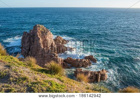 The Pinnacles rock from Cape Woolamai lookout at Phillip Island, Melbourne, Australia.