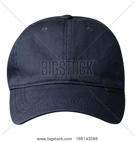 Cap Isolated On White Background. Cap With A Visor .blue Cap