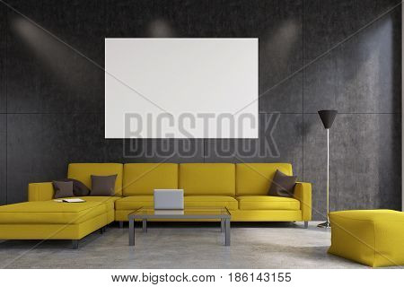 Front view of a living room with gray walls a yellow sofa and an armchair a laptop on a coffee table and a horizontal poster. 3d rendering mock up