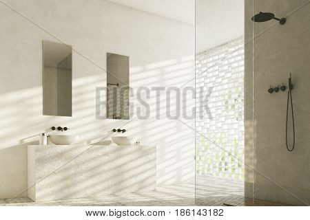 Side view of a bathroom with two white sinks and narrow rectangular mirrors hanging above them. 3d rendering.