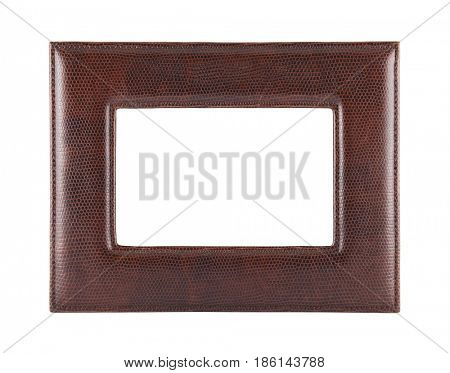 Leather photo frame isolated on white with clipping path
