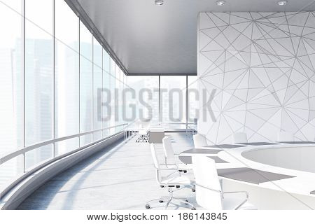 Conference room interior with a round table white office chairs near it a marble wall and a panoramic window. 3d rendering mock up
