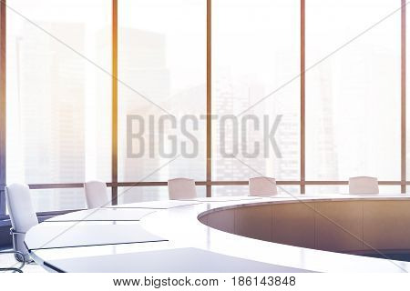 Close up of a conference room interior with a round table white office chairs near it and a panoramic window. 3d rendering toned image