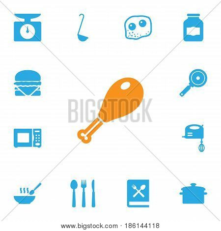 Set Of 13 Kitchen Icons Set.Collection Of Scoop, Poultry Foot, Eggs And Other Elements.