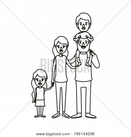 silhouette caricature big family parents with boy on his back and daugther taken hands vector illustration