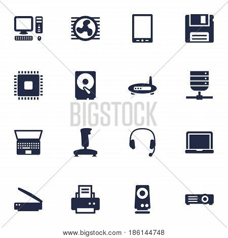 Set Of 16 Computer Icons Set.Collection Of Computer, Diskette, Laptop And Other Elements.
