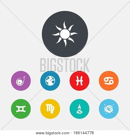 Set Of 9 Galaxy Icons Set.Collection Of Virgin, Crab, Solar And Other Elements.