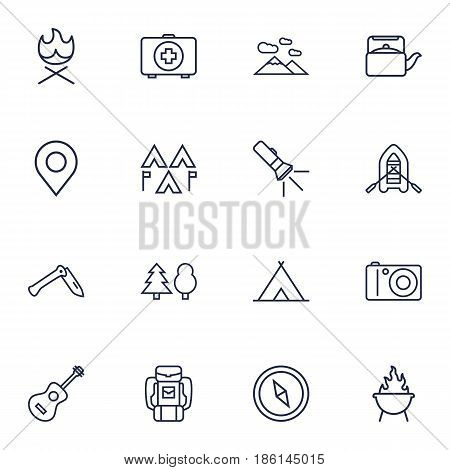 Set Of 16 Picnic Outline Icons Set.Collection Of Encampment, Photographing, Penknife And Other Elements.