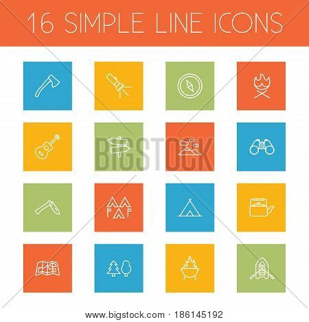 Set Of 16 Camping Outline Icons Set.Collection Of Compass, Rubber Boat, Binoculars And Other Elements.