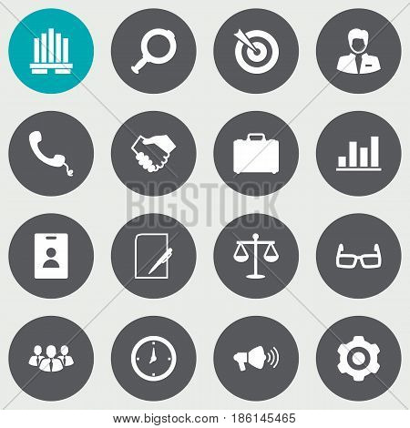 Set Of 16 Enterprise Icons Set.Collection Of Building, Balance, Id Card And Other Elements.