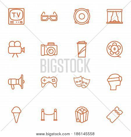 Set Of 16 Pleasure Outline Icons Set.Collection Of Bullhorn, Film Role, Ice Cream And Other Elements.